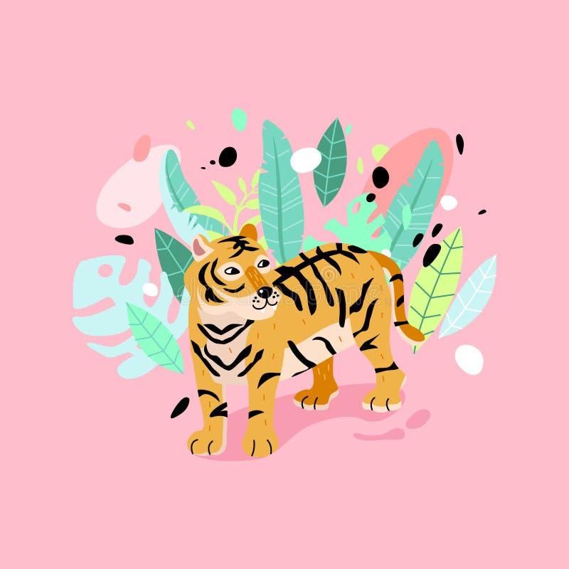 Slogan da tipografia com ilustração listrada do tigre ilustração do vetor