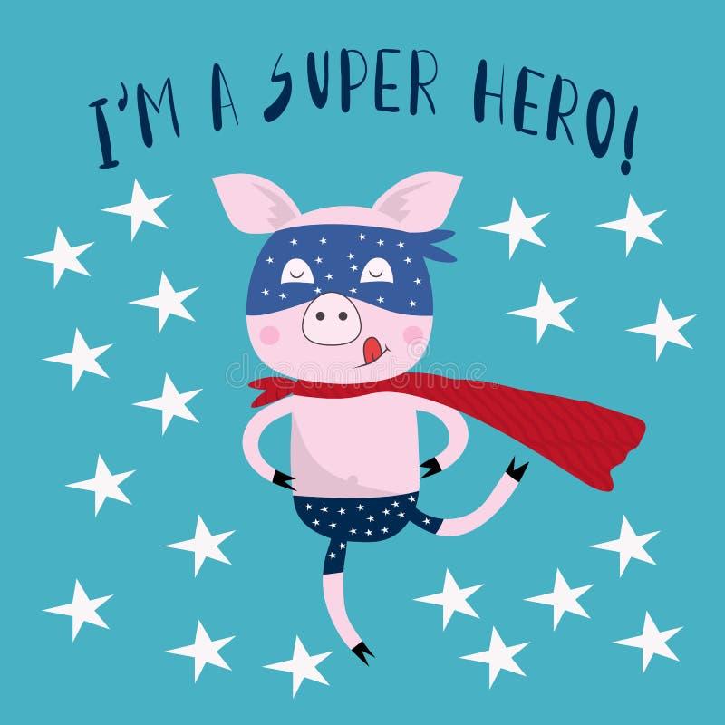 Slogan da tipografia com o porco bonito do super-herói ilustração royalty free