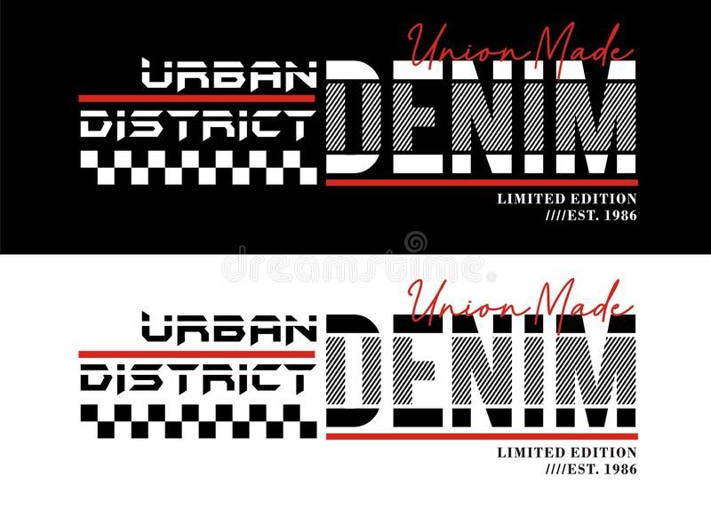 Slogan da tipografia, esporte urbano da sarja de Nimes, para gráficos da cópia do t-shirt, emblema, vetores ilustração royalty free
