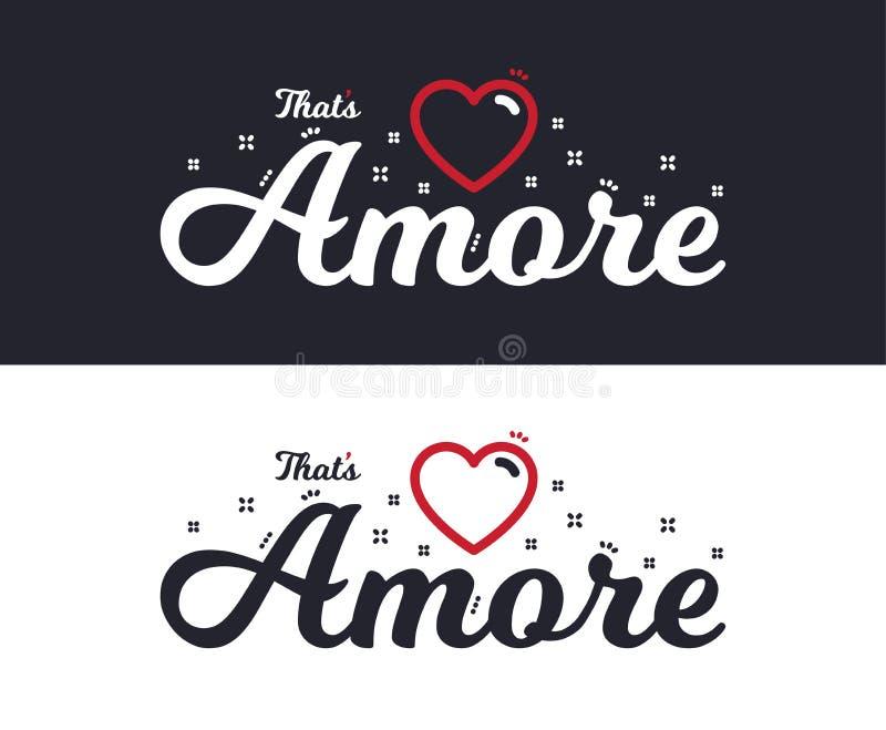 Slogan de Amore para o projeto da impressão do t-shirt Projeto gráfico do T Vetor ilustração do vetor