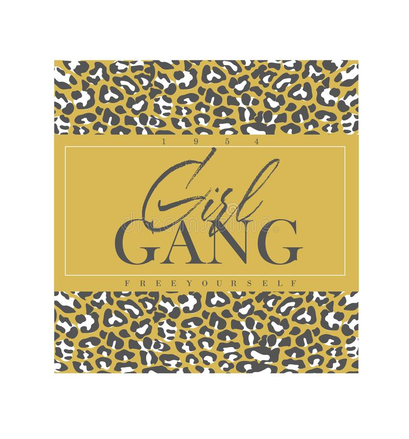 Slogan de bande de fille avec la copie de léopard illustration de vecteur