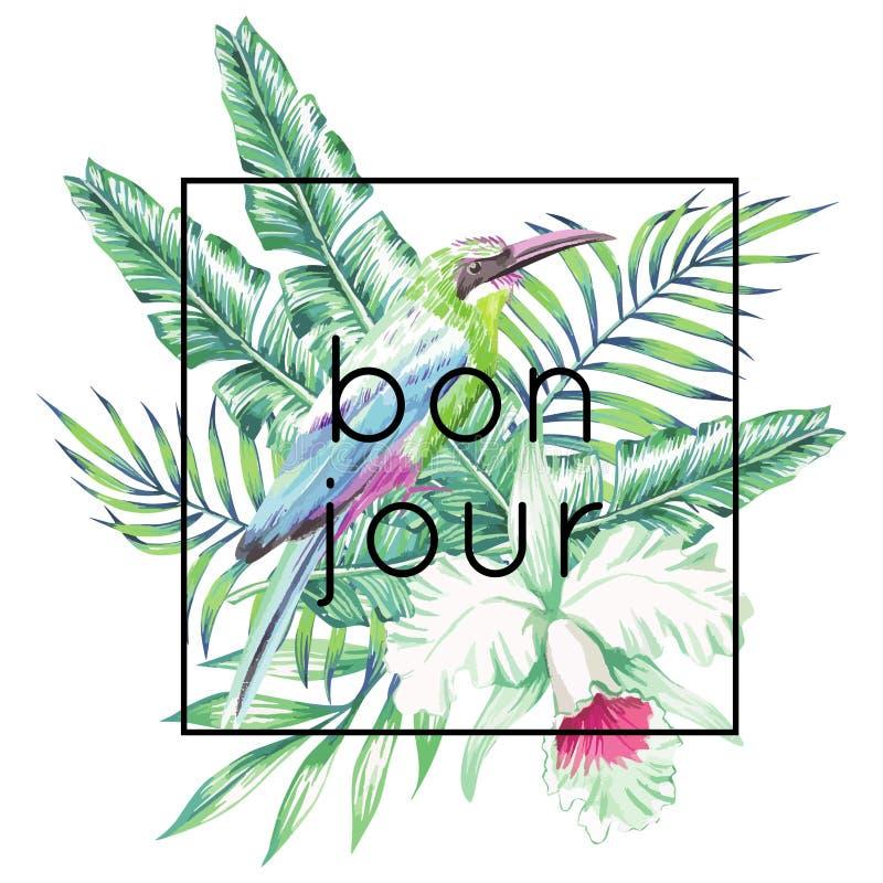Slogan de Bonjour Pássaro, orquídea e cópia das folhas de palmeira ilustração do vetor