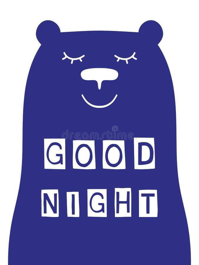 Slogan de bonne nuit avec le visage d'ours illustration libre de droits
