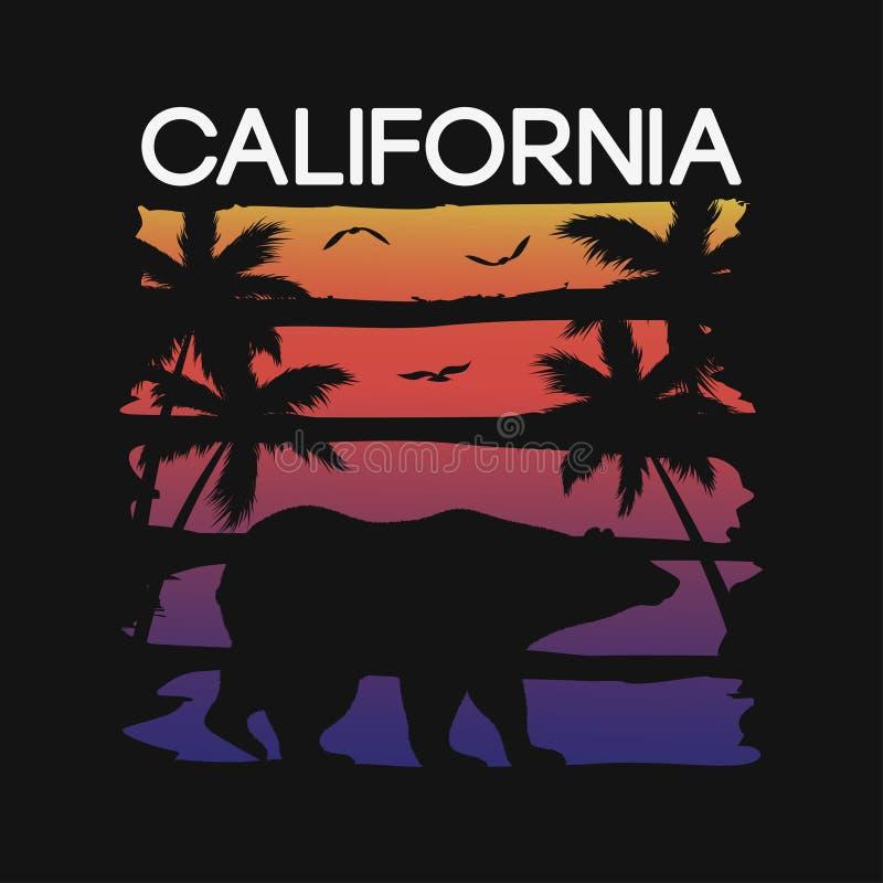 Slogan de Califórnia para a tipografia do t-shirt com as silhuetas do urso e das palmeiras Gráficos para o projeto do t-shirt Vet ilustração do vetor