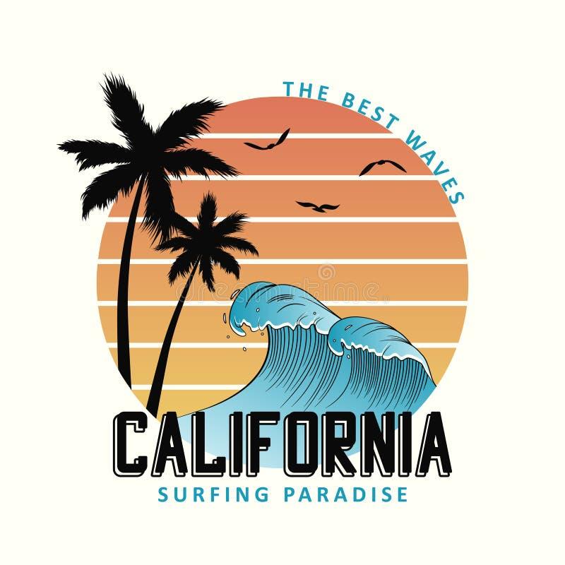 Slogan de Califórnia para a tipografia do t-shirt com ondas e palmeiras Projeto do t-shirt da ressaca, cópia surfando do fato Vet ilustração stock