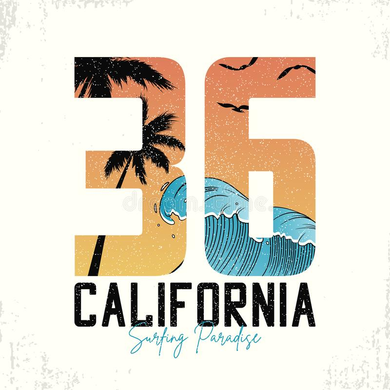 Slogan de Califórnia para a tipografia surfando do t-shirt com ondas e palmeiras T-shirt do número da ressaca com grunge Vetor ilustração royalty free