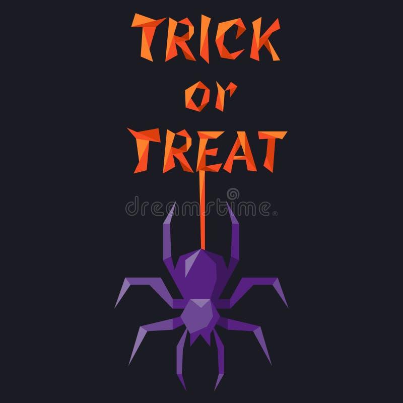 Slogan de Dia das Bruxas com aranha violeta ilustração stock