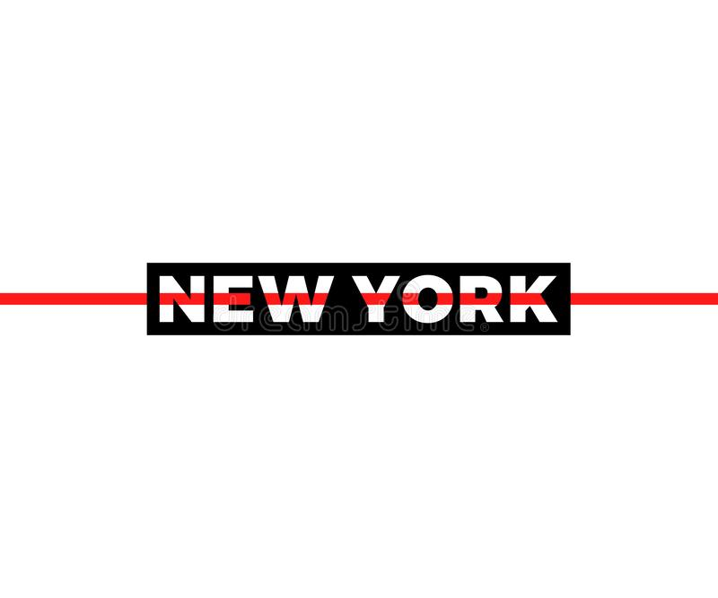 Slogan de New York, gráfico moderno com linhas horizontais pretas e vermelhas Projeto do vetor da forma para o t-shirt Cópia do T ilustração stock