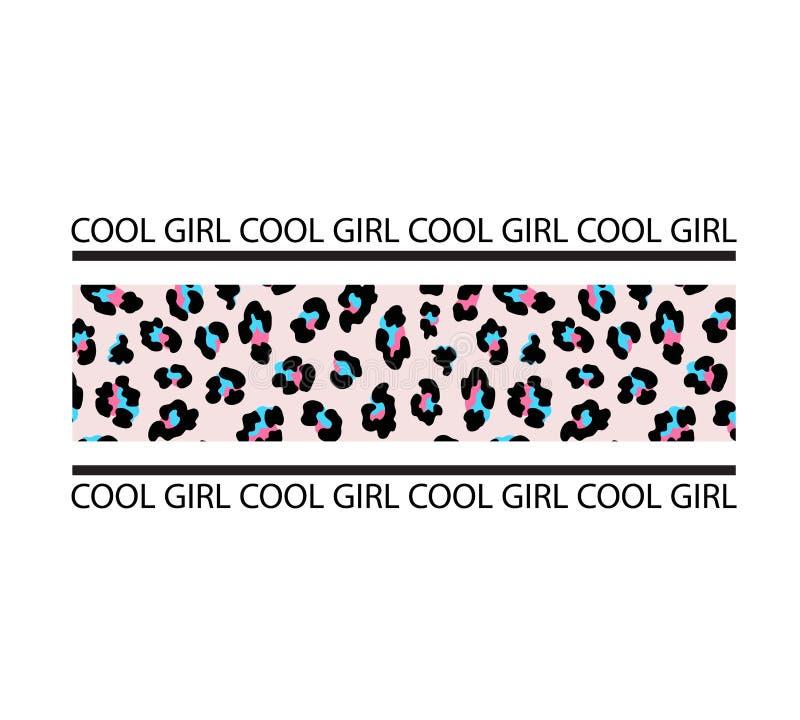 Slogan de typographie avec la copie de rayure de léopard Fille fra?che Copie de T-shirt illustration libre de droits
