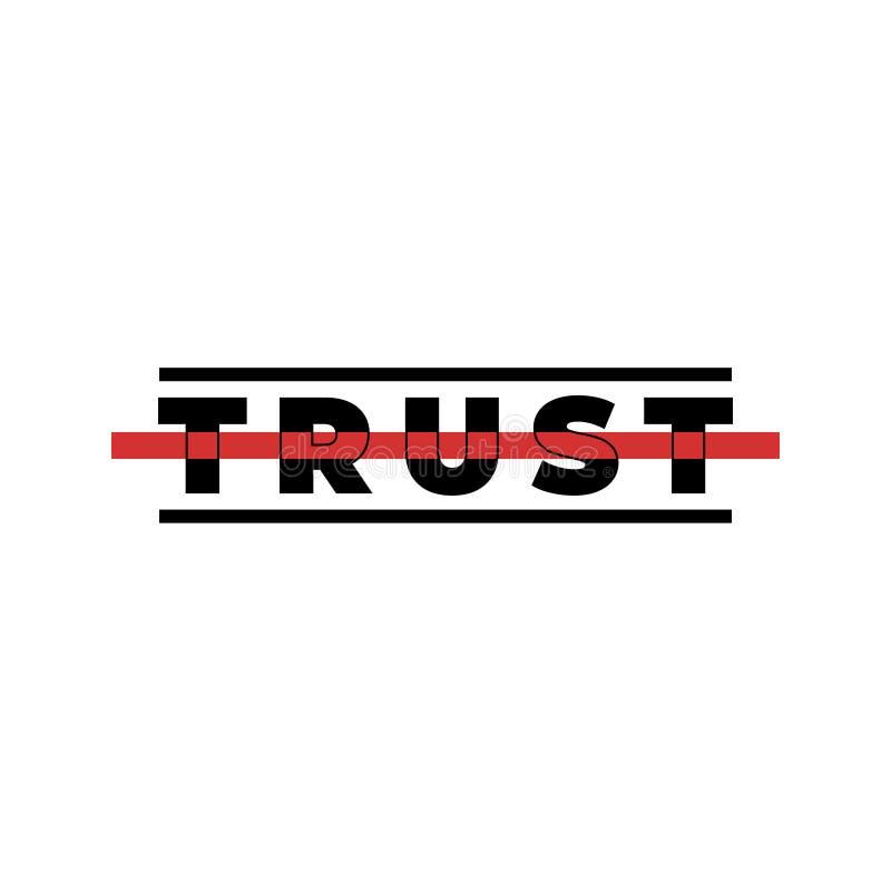 Slogan de typographie pour l'impression de T-shirt Graphique moderne de confiance avec les traits horizontaux noirs et rouges Cop illustration stock
