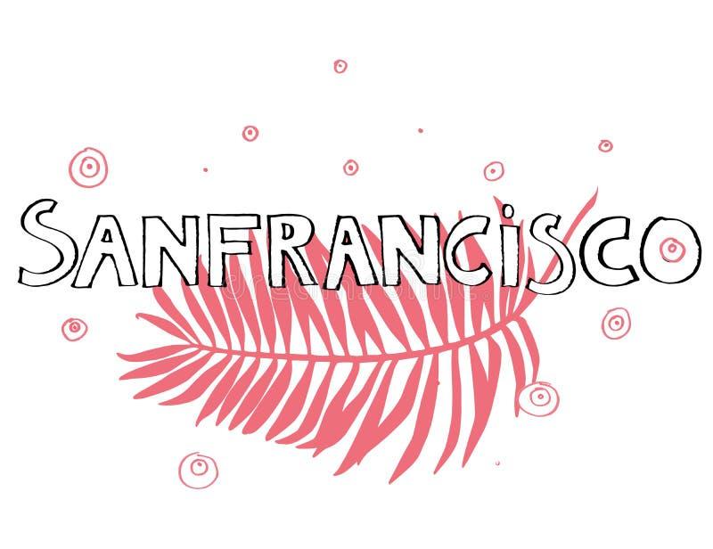 Slogan di tipografia Vettore disegnato a mano di San Francisco per stampa della maglietta illustrazione di stock