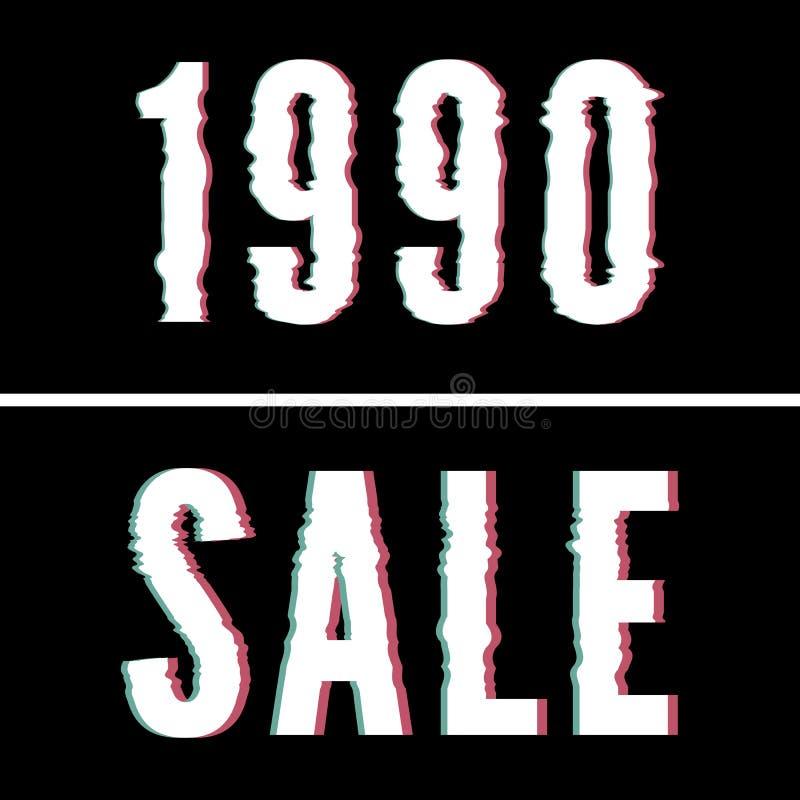Slogan 1990 di vendita, tipografia di impulso errato ed olografica, grafico della maglietta, progettazione stampata fotografie stock libere da diritti