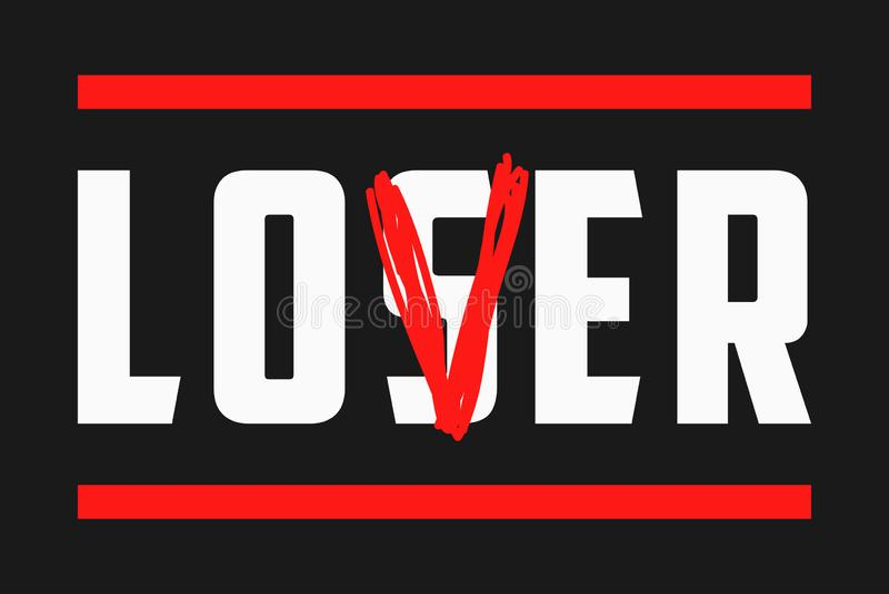 Slogan do amante para o t-shirt com palavra do strikeout - vencido Gráficos na moda da tipografia Vetor ilustração do vetor
