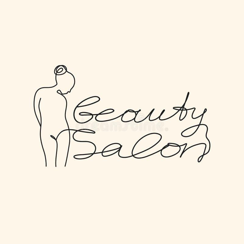 Slogan för skönhetsalong med kvinnors det utdragna t-skjorta för kropphand trycket royaltyfri illustrationer