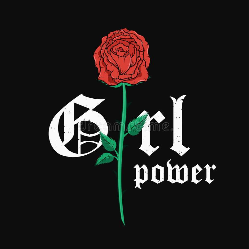 Slogan koszulki graficzny projekt z czerwieni różą Modna kobieta stylu typografia dla trójnika druku Dziewczyny władzy slogan i w royalty ilustracja