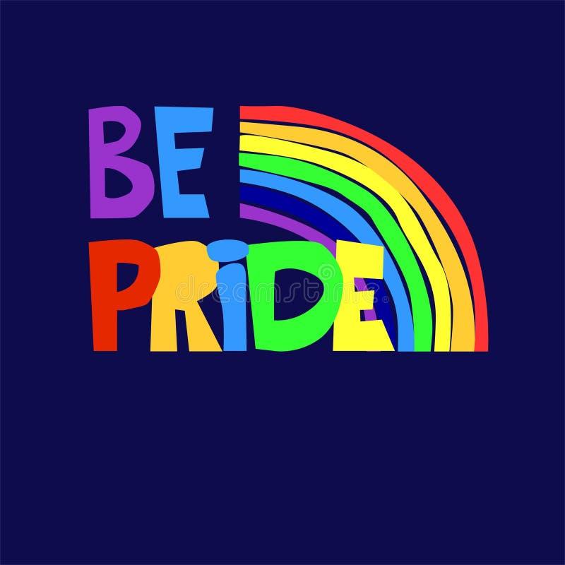 Slogan który wyraża poparcie dla lesbian, homoseksualisty, biseksualnych i transgender społeczności, Piszący list logo z tęczą ilustracji