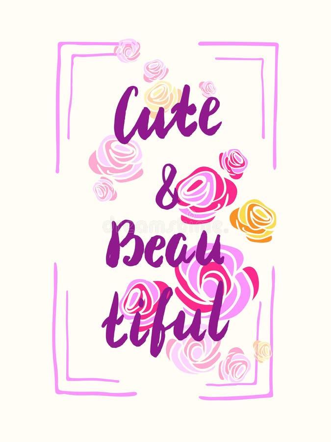 Slogan mignon et de beautifyl, affiche pour des T-shirts illustration libre de droits