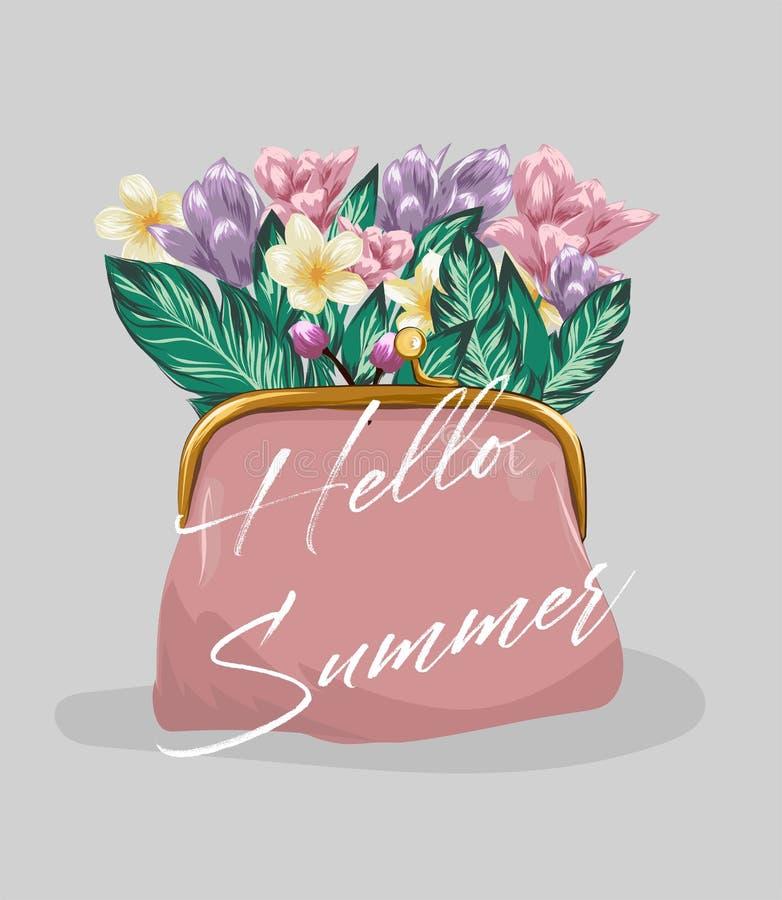Slogan mit Karikaturtasche und Blumenillustration Vervollkommnen Sie für Hauptdekor wie Plakate, Wandkunst, Einkaufstasche, T-Shi stock abbildung