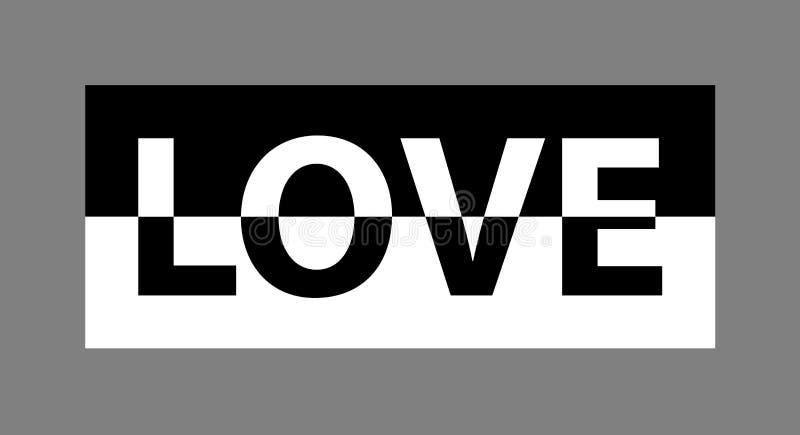 Slogan monocromático do amor para os gráficos do t-shirt e do fato, o cartaz, a cópia, o cartão etc. ilustração royalty free