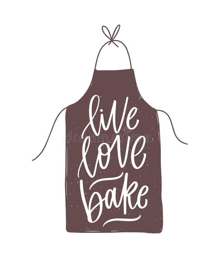 Slogan ou citation de motivation de Live Love Bake manuscrite avec la police calligraphique cursive sur le tablier ?l?gant ?l?gan illustration libre de droits