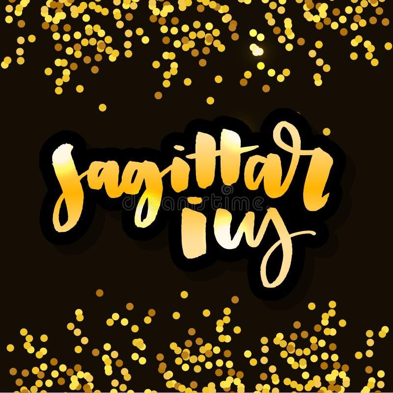 slogan Sagittarius lettering Calligraphy Brush Text horoscope Zodiac sign illustration stock illustration