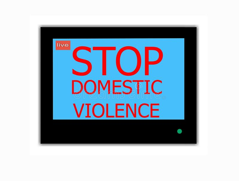 Slogan STOP DOMESTIC VIOLENCE on television screen stock photo