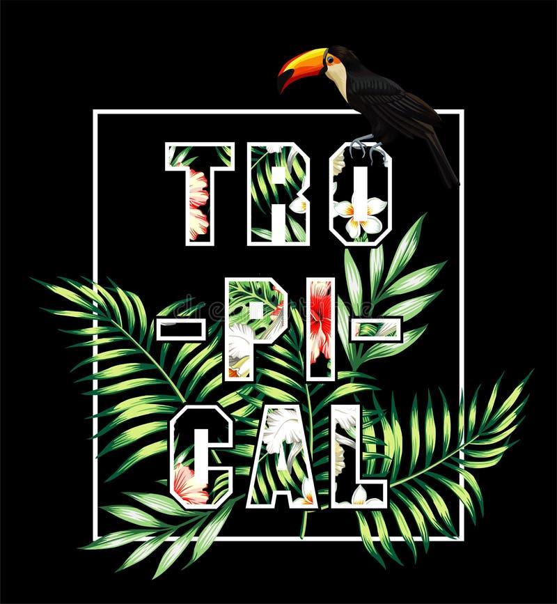 Slogan tropical Tucano e cópia das folhas de palmeira ilustração stock