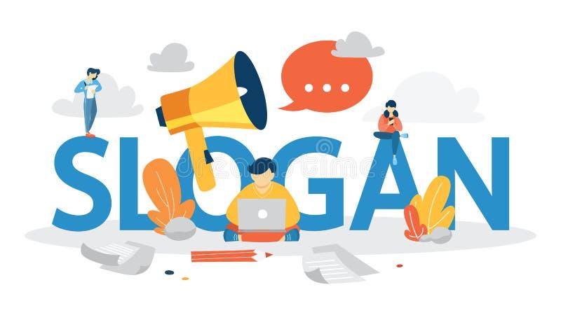 Sloganbegrepp Unik design av ett företag vektor illustrationer