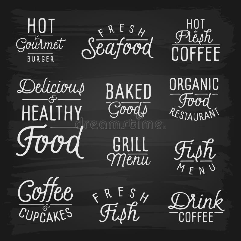 Slogans tirés par la main de lettrage pour le café et le restaurant illustration libre de droits