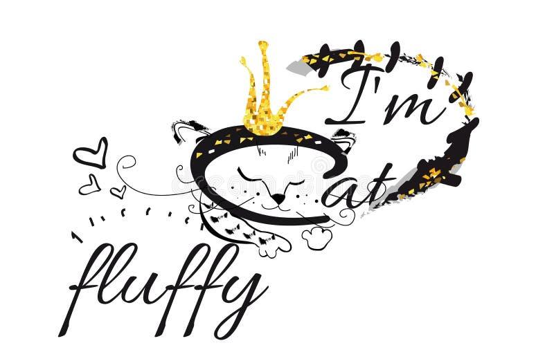 Sloganvektort-skjorta illustration med den fluffiga katten stock illustrationer
