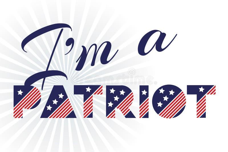 Sloganvektortrycket för th juli för berömdesign 4 i tappningstil på vit bakgrund med text är jag en patriot vektor illustrationer
