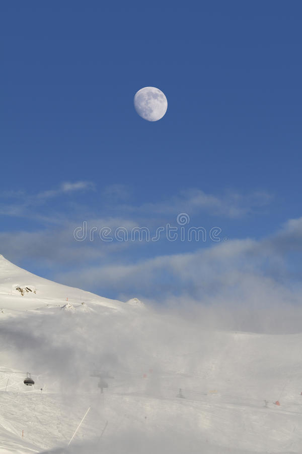 Slope with moon stock photography