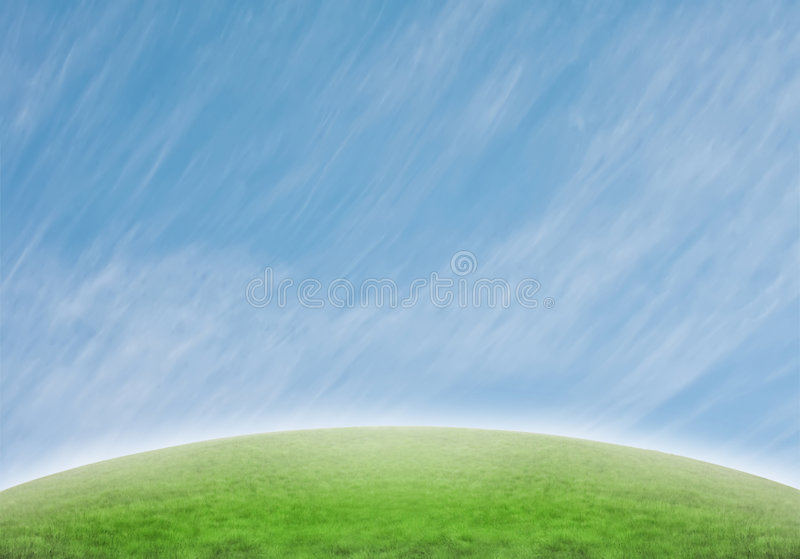 Slope With Stretched Special Clouds Stock Images
