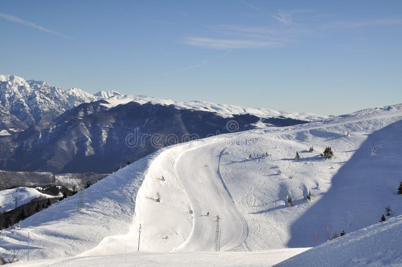 On The Slopes. Ski slopes of Monte Baldo, Northern Italy royalty free stock photo
