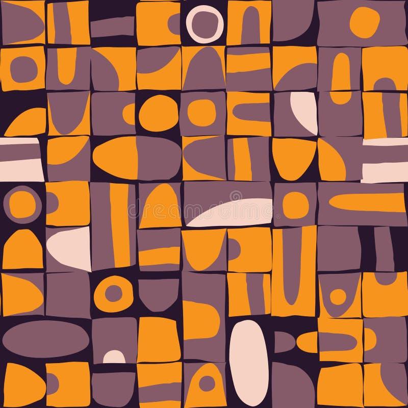 Sloppy geometric shapes seamless pattern royalty free illustration