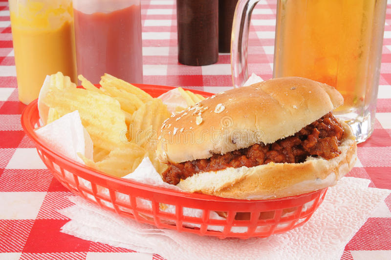 Download Sloppy joe and chips stock photo. Image of alcohol, chips - 26708180