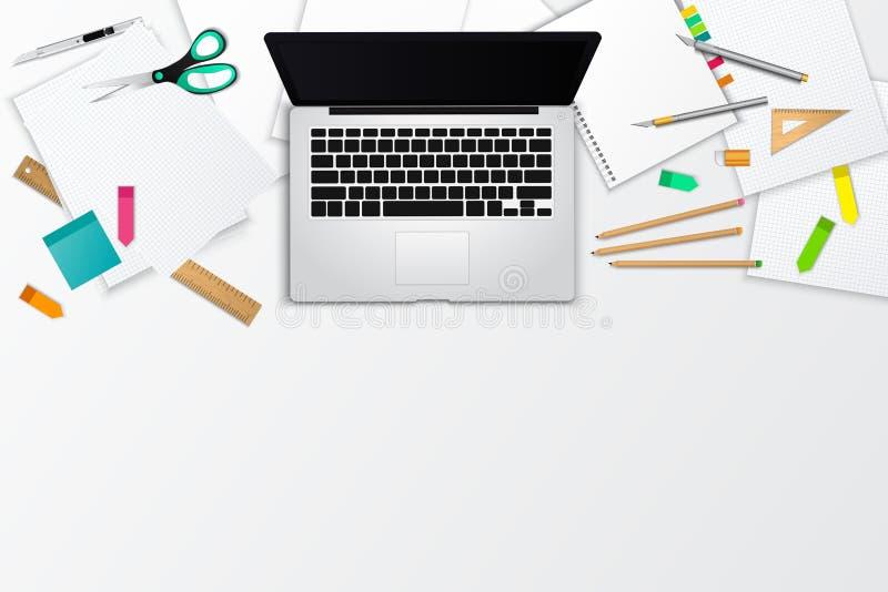 Slordige bureau en het werk ruimte het malplaatjelay-out van het productmodel vector illustratie