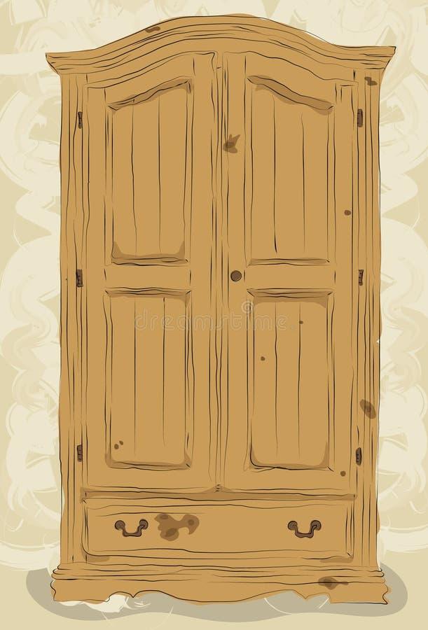 Slordige getrokken hand armoire stock illustratie