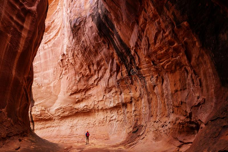 Slot canyon. In Grand Staircase Escalante National park, Utah, USA. Unusual colorful sandstone formations in deserts of Utah are popular destination for hikers royalty free stock image
