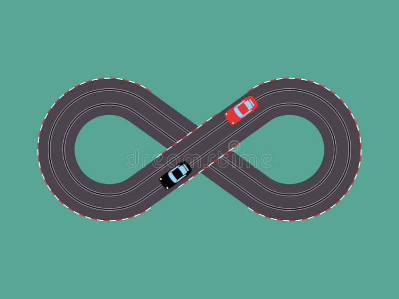 Slot cars toy simple colored royalty free illustration