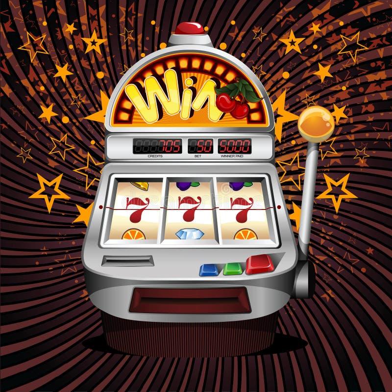 slot fruit machine winning on sevens. vector illustration