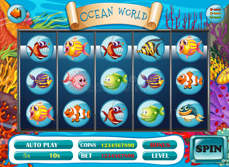 Slot game template with fish characters royalty free illustration