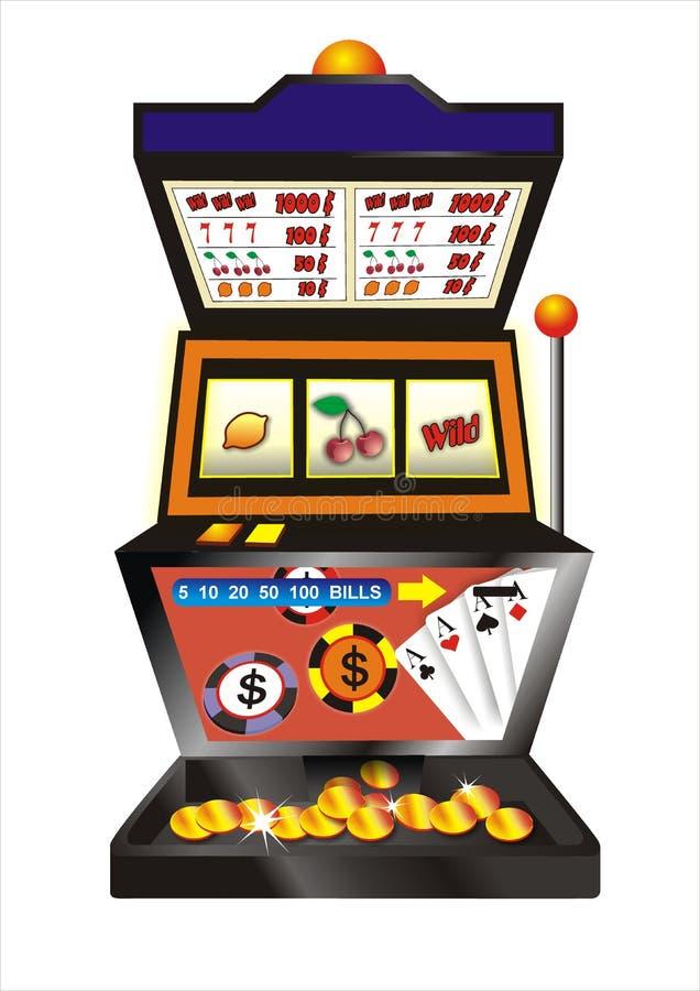 Slot machine. Fruit slot machine with golden coins royalty free illustration