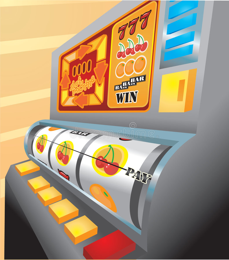 Slot Machine. An illustration of a slot machine about to pay out on cherries! No meshes used vector illustration