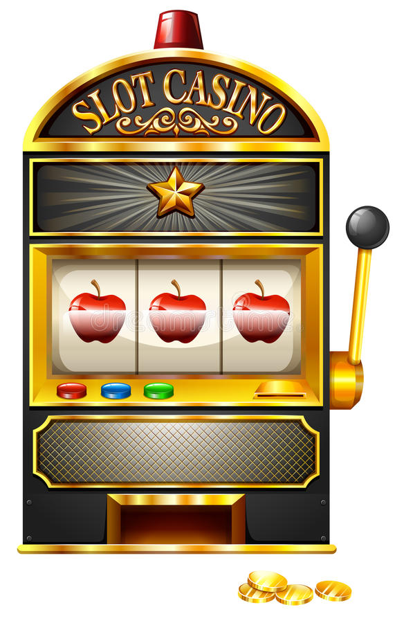 Slot machine with apples royalty free illustration