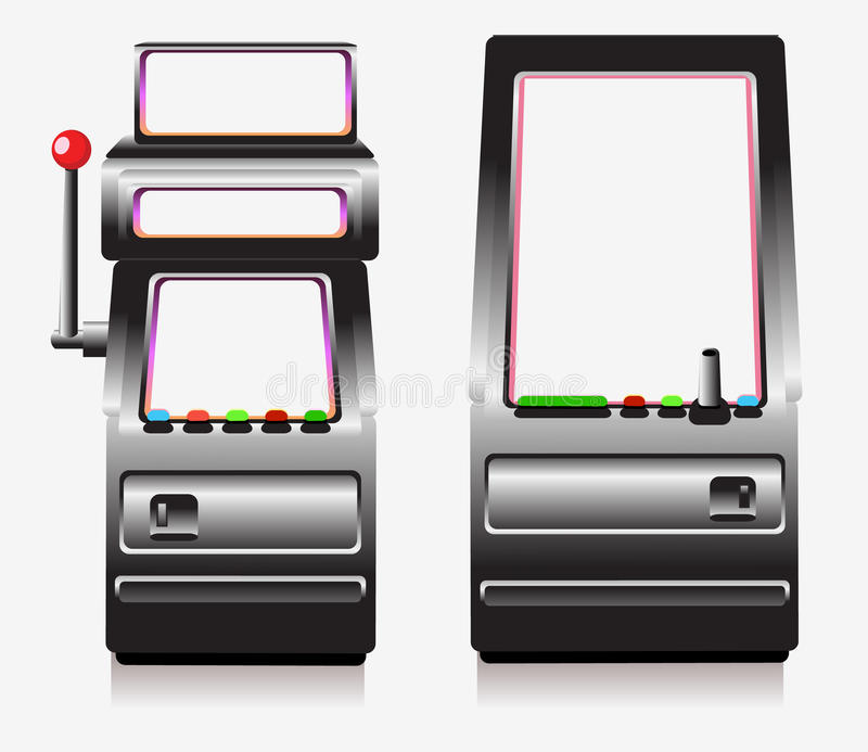 Slot machine and arcade game stock illustration