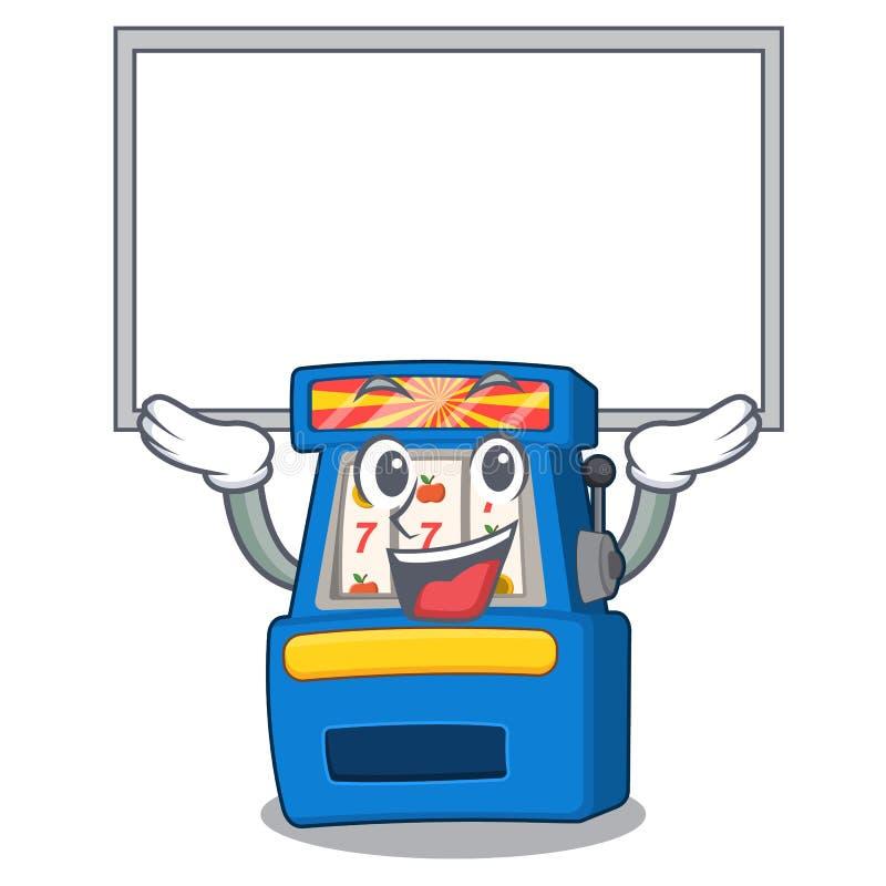 Slot machine ascendente da placa na forma da mascote ilustração royalty free