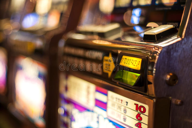 Slot machine. The bill acceptor of a slot machine royalty free stock photos