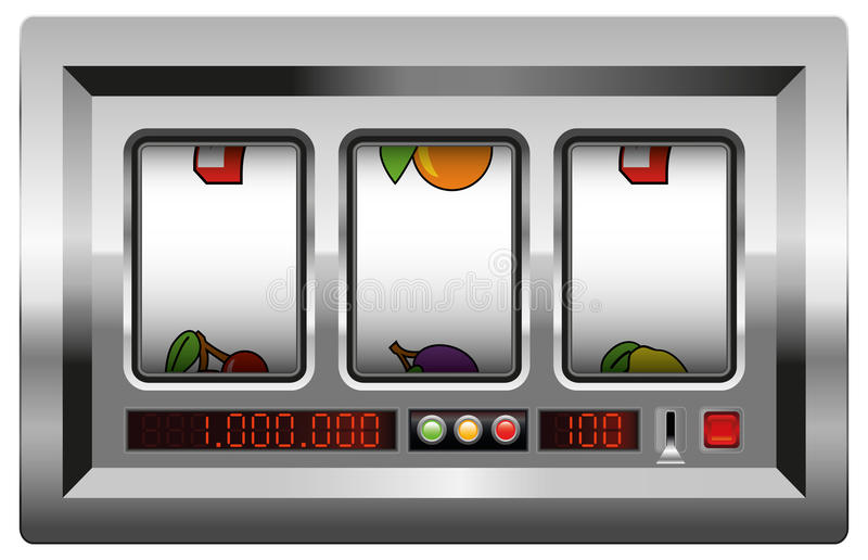 Slot Machine Blank Reels. Slot machine with blank reels to insert your company logo or any text or picture in. vector illustration on white background royalty free illustration