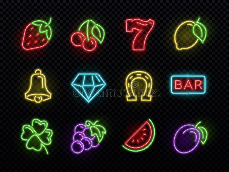Slot machine bright neon vector symbols. Casino light gambling icons. Illustration of icons casino game neon, fortune and gambling stock illustration